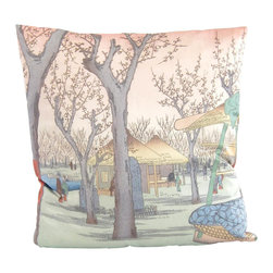 Poetic Pillow - Kamata Pillow - Transform any space with a pillow from Poetic Pillow. Each pillow is inspired by fine works of art and printed on the front and back.   Covers are made of pre-shrunk satin-like polyester fabric. All seams are finished to prevent fraying and pillow covers have a knife edge finish.. A concealed zipper allows for ease of inputting pillow inserts.  A duck feather insert is included for soft yet supportive feel.  Cushion inserts are encased in a cotton cover and filled with 100% duck feather.  All research, design and packaging is completed in Oakland, California.