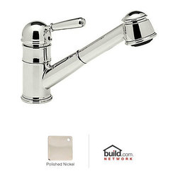 """Rohl - Rohl R77V3PN Polished Nickel Country Kitchen Country Kitchen Faucet - Country Kitchen Faucet with Pull Out Spray and Metal Lever HandleRohl R77V3 Features:All brass faucet body construction - weight: 8 lbs.Hand-machined from solid brass stockIndustry leading, 1/4 turn lifetime ceramic disc valveSuperior finishing process – chemical, scratch, and stain resistantNumber of installation holes required: 1Spout swivels to allow for unobstructed sink accessInsulated brass pullout spray faucet head (not plastic)Installs onto decks up to 2-1/4"""" thickMetal lever handles includedOverall height: 8-1/2"""" (measured from counter top to highest point of faucet)Spout height: 6"""" (measured from counter top to faucet outlet)Spout reach: 9"""" (measured from center of faucet base to center of faucet outlet)Low lead compliant – complies with federal and state regulations for lead contentDesigned for use with standard U.S. plumbing connectionsExtra secure mounting assemblyAll necessary mounting hardware includedFully covered under Rohl's limited lifetime warrantyManufactured in New Zealand, Western Europe, and/or North AmericaVariations:R77V3 - This modelR77V3S - Same model with porcelain lever handleAbout Rohl:Excellence, durability, and beauty. Family values, integrity, and innovation. These are all terms which aptly describe Rohl and its remarkable selection of kitchen and bathroom faucets and fixtures. Since 1983, Rohl has maintained a commitment to providing high-quality plumbing products for residential and commercial applications, while assuring these fixtures would make a difference in the overall décor in the living space. With a dedication to excellence throughout the home, Rohl has been satisfying homes, schools, hospitality venues, and restaurants all around the world. Rohl specializes in providi"""