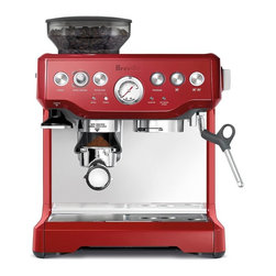 None - Breville BES870CBXL Barista Express Cranberry Red Espresso Machine - Make yourself a delicious espresso every morning with the Breville Barista in an elegant cranberry red finish. Its in-built conical burr grinder allows you to grind directly into the portafilter.