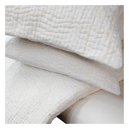 Cokas Diko - Cokas Diko La Jolla Quilt Set, Queen - Bring the sounds of crashing waves and the feel of cool ocean breezes into your bedroom with these incredibly comfortable antique style hand stitched quilts.  These beachy clean quilts come in a unique ivory color with a contrasting light buttery tone.  The pattern reverses to self.  Each queen quilt comes with two standard shams.  300 thread count pre washed percale cotton.  Machine washable.