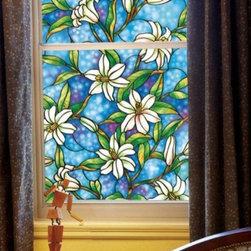 Flower Lily Premium No-Glue Static Decorative Privacy Window Films - Instruction: