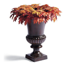 "Grandin Road - New England Brown Leaves Urn Filler - Faux foliage urn filler, swag, wreath, and garland in fall colors. All pieces are built on a grapevine base. Urn filler has a 5"" opening for displaying bundles of tall twigs, wheat grass or pumpkins (not included). For covered outdoor or indoor display. Our New England Maple Leaf Urn Filler, Swag, Wreath, and Garland look as real as if you had gathered the leaves yourself, yet these lush pieces will last for seasons to come. A rich melange of variegated maple leaves is punctuated with lifelike berries and natural twigs. Plus, there's a shape to fit nearly any area of your home.  .  .  .  ."