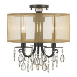 Crystorama Lighting Group - Crystorama Lighting Group 5623-C Hampton 3 Light Semi-Flush Ceiling Fixture - Features: