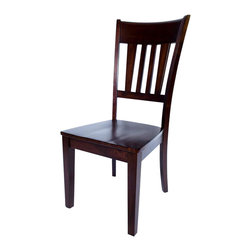 AW Furniture - Solid Hardwood Panel Back Brown Dining 2 Chair Set - This classic design chair combines both style and comfort. Its clean construction, and beautiful panel back with straight legs and rungs are sure to make this dining chair. It is crafted from sturdy hardwood and features a lovely mission brown finish.