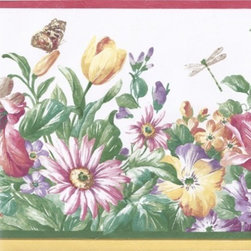 York Wallcoverings - Red Cream Flower Garden Wallpaper Border - Wallpaper borders bring color, character and detail to a room with exciting new look for your walls - easier and quicker then ever.