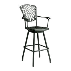 Ashbury Swiveling Bar Stool - The Ashbury cast aluminum stool has a swiveling chair and is available with or without arms in several colors.