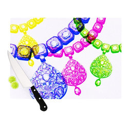 "Kess InHouse - Sreetama Ray ""Precious"" Jewelry Cutting Board (11"" x 7.5"") - These sturdy tempered glass cutting boards will make everything you chop look like a Dutch painting. Perfect the art of cooking with your KESS InHouse unique art cutting board. Go for patterns or painted, either way this non-skid, dishwasher safe cutting board is perfect for preparing any artistic dinner or serving. Cut, chop, serve or frame, all of these unique cutting boards are gorgeous."