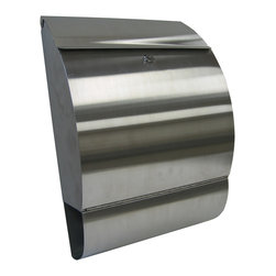 Jensen Wall Mount Mailbox - The Jensen Wall Mount Mailbox has a modern and contemporary look. Designed by European Home and constructed of stainless steel, this residential mailbox is a great finish touch for your home. These locking residential mailboxes have a clean look while still featuring a built in newspaper holder.