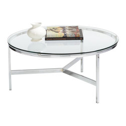 Sunpan - Sunpan Flato Polished Steel Round Coffee Table - This European designed coffee table has a very light and airy look and is perfect for all contemporary and transitional spaces. It features a heavy tempered glass top on a polished steel base.