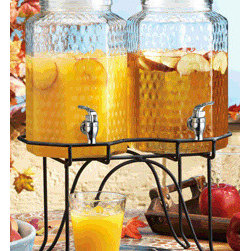 "Home Essentials - Del Sol Set Of Two Dispensers On Rack - These attractive set of two glass beverage jugs will serve as a charming addition to picnics, weddings and are great for hosting large crowds! Enjoy refilling your cup with some cold sangria, lemonade or mineral water with the flow of its sturdy plastic spout. * Capacity: 1 Gallon per jug * Dimensions: 15.71 x 15.72 x 16.70. * Dimensions per jug: W: 6.5"" L: 6.5"" H: 12"""