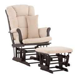 Stork Craft - Stork Craft Tuscany Glider and Ottoman with Free Lumbar Pillow in Black with Bei - Stork Craft - Rocking Chairs Rockers - 0655451B - Available in 6 wood finishes and 4 fabric combinations to create your own custom Tuscany Glider and Ottoman. The Stork Craft Tuscany Glider and Ottoman set offers gentle motion while feeding your baby in those early morning hours. Featuring a solid construction with a magical sleigh design this is a royal centerpiece for your nursery. The enclosed metal ball-bearings allow for an incredibly smooth motion to glide your baby back to sleep. Micro fiber spot-cleanable cushions ease the worry about spills while the construction offers an exquisite finish you'll appreciate far beyond the baby years. The Tuscany Glider comes with a matching soft plush lumbar support pillow for supporting your baby during feeding times.