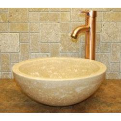 Eden Bath - Mediterranean Bathroom - Eden Bath EB_S003BT-H Stone Vessel Small Beige Travertine Sink Bowl in Beige