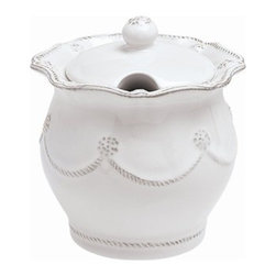 """Juliska - Juliska Berry and Thread Lidded Sugar-Jam Whitewash - Juliska Berry and Thread Lidded Sugar/Jam Whitewash.Perfect for sparkling sugar or luscious preserves, you will adore this darling little vessel and want to keep it on your kitchen counter or table at all times. Dimensions: 4"""" W x 5.5"""" H Capacity: 16 oz"""
