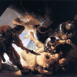 "Rembrandt Van Rijn The Blinding of Samson - 18"" x 24"" Premium Archival Print - 18"" x 24"" Rembrandt Van Rijn The Blinding of Samson premium archival print reproduced to meet museum quality standards. Our museum quality archival prints are produced using high-precision print technology for a more accurate reproduction printed on high quality, heavyweight matte presentation paper with fade-resistant, archival inks. Our progressive business model allows us to offer works of art to you at the best wholesale pricing, significantly less than art gallery prices, affordable to all. This line of artwork is produced with extra white border space (if you choose to have it framed, for your framer to work with to frame properly or utilize a larger mat and/or frame).  We present a comprehensive collection of exceptional art reproductions byRembrandt Van Rijn."
