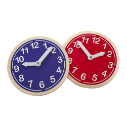"""Whitneybrothers - """"What Time Is It?"""" Kids Learning Wall Clock, Red - Great learning tool for telling time.  Bright decorative decal applied to birch laminate clock body in natural UV finish. Hour and minute hands are easy to manipulate, but stay in place. GreenGuard certified. Made in the USA. Lifetime Warranty."""