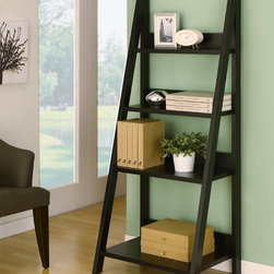 Furniture of America - Furniture of America Wilshire 4-shelf Bookcase/ Display Stand - This sleek four shelf bookcase has an A-line black frame for adding a contemporary look to a room. Four shelves provides ample display area for pictures,books and knickknacks. At 61 inches high,the bookcase provides a focal point to the room.