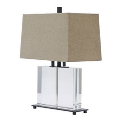 House of Troy - House of Troy M554-OB Marquis 2 Light Table Lamps in Oil Rubbed Bronze - Oil rubbed Bronze and Rectangular Crystal Table Lamp