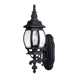 Capital Lighting - Capital Lighting French Country Traditional Outdoor Wall Sconce X-KB7689 - This Capital Lighting French Country Traditional Outdoor Wall Sconce will definitely light up you home in style. Notice the details of the magnificent frame in a sleek, black finish and the clear beveled glass panels. It's truly an attractive light fixture with a little bit of flair and a lot of style.