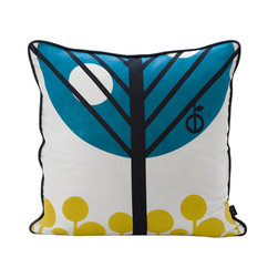 Ferm Living - Ferm Living Apple Cushion - Dress up any seating area with this playful pillow. Crafted from cotton canvas, it features feather and down filling for plenty of support. A graphic apple tree design patterns the front in turquoise blue and yellow, while the back is solid black.100% cotton canvasFeather and down fillingBlack on back side50cm W x 50cm H