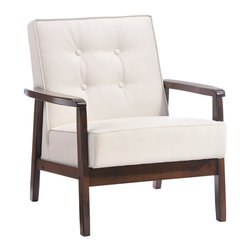 Zuo Modern Contemporary, Inc. - Aventura Arm Chair White - With a solid rubberwood frame, the versatile Aventura Chair is a subtle prescence in any room.  It has a white leatherette cover with a warm walnut toned frame.  Classic Mid-Century style for any small space.