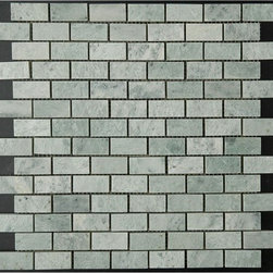 """Ming Green Marble Polished Mosaic Tiles - Gorgeous Ming Green Marble Polished Mosaic tiles on a 12"""" x 12"""" mesh. The size of the small pieces is 1 in. x 2 in. Each tile is approximately one square foot. The price is per sheet."""