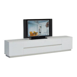 VIG Furniture - AK588-230 White Crocodile Textured Lacquer Entertainment TV Unit - The AK588-230 entertainment center is modern luxury furniture at it's finest. The TV unit is crafted from solid wood products with a stunning white lacquer finish. The lacquer features a stunning laser etched crocodile texture that adds to the overall look and feel of the unit. The TV console has a door on each side that reveals ample storage cubbys. Within the middle are four pull out drawers adding even more storage for your electronic devices.