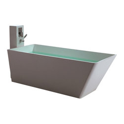 ADM - ADM Matte White Stand Alone Resin Bathtub - With this free standing tub as the focal point of your bathroom, you'll want to sink right in to relaxation every time you walk in the room. This solid surface stone resin white matte bathtub is super sleek and angled for maximum comfort.