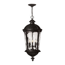 Hinkley Lighting - 1892BK Windsor Outdoor Hanging Lantern, Black, Clear Water Glass - Traditional Outdoor Hanging Lantern in Black with Clear Water glass from the Windsor Collection by Hinkley Lighting.