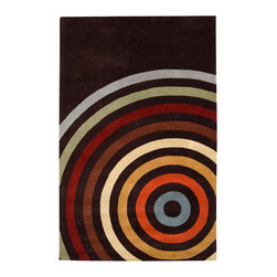 Surya - Surya Forum FM-7138 (Chocolate) 6' Round Rug - Bright and bold Retro colors combined with dramatic linear designs give the rugs of the Forum Collection a unique style. Hand Tufted in India from 100% Wool these rugs are soft to the touch while exciting to the eyes. The vivid color combinations and striking patterns make these rugs ideal for contemporary spaces.