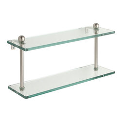 Allied Brass - Double-tier 16-inch Tempered Glass Shelf - Add extra space to your bathroom with a beautiful,functional shelfClever shelf can be used to store or display just about anythingHome accessory mounts easily with two screws