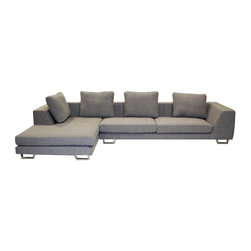 Wholesale Interiors - Baxton Studio Fabric Sectional in Grey - Includes Sofa and Chaise. Squared chrome legs and accent pillows. Cushions are stuffed with foam of medium firmness. Fully assembled. Set: 140.5 in. W x 33 in. H. Sofa: 38.5 in. W x 93.5 in. L, Seat: 81 in. W x 22 in. D. Chaise: 45 in. W x 67.5 in. D, Seat: 32 in. W x 49 in. D. Seat: 16 in. H. Arm: 10 in. W x 38 in. D Adds versatility and contemporary style to your home furniture collection. Constructed of a durable hardwood frame. Elegant twill fabric removable covers blends with any home decor. Lateral rubber spring support system and high density foam cushioning. Back has a sturdy rubber lattice support. Smaller in size than the other sleeper sofa we currently offer, this sofa would go great in a den or college dorm for any unexpected guests that may stop by. The perfect combination of quality craftsmanship with simple and sophisticated designs, will instantly enhance your living space. If you are looking for a quality product which speaks of style and glamour without being too loud, then this is the perfect choice.