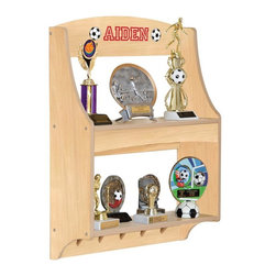 Guidecraft - Guidecraft Expressions Natural Trophy Rack with Personalization - G87205-101-201 - Shop for Wall Hooks Shelves and Racks from Hayneedle.com! Sports music scouts - whatever their passion the Guidecraft Expressions Natural Trophy Rack with Personalization is a great way to display their achievements. You'll love how this wood trophy rack can be personalized with your young champion's name as well as font type font color and accompanying graphic. Two shelves and five peg hooks provide the perfect perch for trophies and ribbons and wall-mount installation hardware comes included. Safety tested for ages three and older.About GuidecraftGuidecraft was founded in 1964 in a small woodshop producing 10 items. Today Guidecraft's line includes over 160 educational toys and furnishings. The company's size has changed but their mission remains the same; stay true to the tradition of smart beautifully crafted wood products which allow children's minds and imaginations room to truly wonder and grow.Guidecraft plans to continue far into the future with what they do best while always giving their loyal customers what they have come to expect: expert quality excellent service and an ever-growing collection of creativity-inspiring products for children.