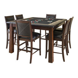 American Heritage - Archer Game Table - The 56 in. Archer Game Table is all you'll ever need for a great night with your family and friends. Finished in a warm Mojave stain with padded leather armrests and a felt playing surface. The Archer Game Table will complement any room d̩cor.. Dust with damp cloth; clean with water only. 56 in. W x 56 in. D x 36 in. H (140 lbs)