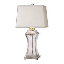 Uttermost - Fulco Glass Table Lamp - Thick clear glass base accented with polished nickel plated details. The tapered rectangle hardback shade is a khaki linen fabric with natural subbing.