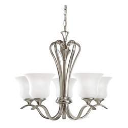 Kichler - Kichler 5-Light Chandelier - Brushed Nickel - Five Light Chandelier From the wedge port collection, this energy efficient lighting chandelier blends traditional curvature with clean, modern finishes for an updated look. The brushed nickel is a perfect finishing touch for the five satin etched glass shades.