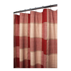 Park B. Smith - Park B Smith Stire Block Woven Shower Curtain - STBL40-RLI - Shop for Shower Curtains from Hayneedle.com! Enjoy the warm inviting colors and large plaid print of the Park B Smith Strie Block Woven Shower Curtain for any bathroom of your home. Available in robust redwood and wine tones combined with a natural linen the woven stitch of this shower curtain provides durability and lasting style. It's made of 100% natural cotton and is machine-washable.