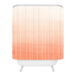 DENY Designs - Social Proper Peach Ombre Shower Curtain - Who says bathrooms can't be fun? To get the most bang for your buck, start with an artistic, inventive shower curtain. We've got endless options that will really make your bathroom pop. Heck, your guests may start spending a little extra time in there because of it!