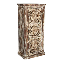 "Sierra Living Concepts - Mango Wood Hand Carved 57"" 3-Shelf Cabinet Armoire - We combined the intricate hand carved detailed door featuring three mandalas with a rustic finish for our Winter Woods Cabinet. This standing cabinet is built with solid mango wood, a tropical hardwood grown as a sustainable crop."