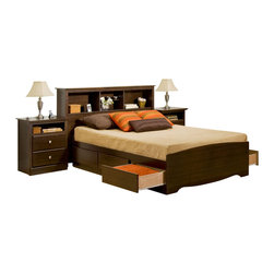 Prepac Furniture - Prepac Fremont 4 PC Queen Bedroom Set with Tall Nightstands in Espresso (Bed, Tw - This functional and useful Fremont 4 Pcs Queen Size Storage Bedroom Set with Tall Nightstands in Espresso (Bed, Two Nightstands and Dresser) - Prepac Furniture provides affordable elegance for those looking for designer styles without the designer budget. Six large drawers, positioned three on each side below the bed, are easy to access and accommodate clothing, or anything you need to store. Tall nightstands feature open shelves that are perfect for bedside reading material.    Bedroom Set includes Queen Size Bed with Headboard, two Tall nightstands and Dresser.  Please choose Queen Size Bed in options.  Chest could be added to complete the set.