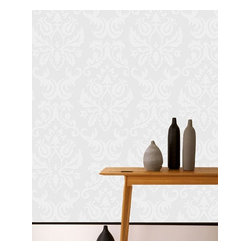 Graham & Brown - Large Damask Wallpaper - This large scale textured damask pattern will give your walls an updated twist on a traditional look. This paintable wallpaper allows you the option of leaving it white, or exploring other colors! Any way you choose, your walls will have that modern, but vintage feel!