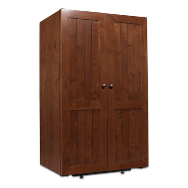 330 Bottle Roma Wine Cabinet - A solid door design mimics the iconic oak barrels used in the wine aging process. Each cabinet is handcrafted from knotty Alder, and glazed distressing gives every unit its own uniqueness.