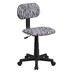 Flash Furniture - Flash Furniture Black and White Zebra Print Computer Chair - BT-Z-BK-GG - This attractive design printed office chair will liven up your classroom, dorm room, home office or child's bedroom. If you're ready to step out of the ordinary then this computer chair is for you! [BT-Z-BK-GG]
