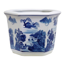 """Oriental Furniture - 10"""" Landscape Blue and White Porcelain Flower Pot - Decorated with a classic Ming dynasty era blue and white """"export pattern"""", a richly-detailed Asian landscape motif with mountains and pagodas. Great for houseplants, live or dry flower arrangements, or lucky bamboo. This design has a hole drilled in the bottom for watering live plants."""