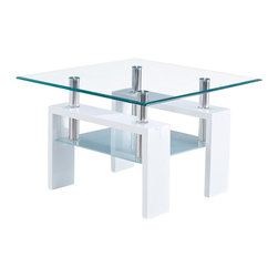 Global Furniture - Global Furniture USA T648 Square Glass End Table w/ White Legs - This table is complete with clear top glass and frosted bottom glass with glossy white legs to finish the look.