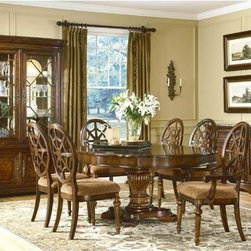 ART Furniture - Warwick 7 Piece Round Dining Room Set - 41225-2106/41206-2106/41 - Set includes round table, 4 upholstered side chairs and 2 Upholstered arm chairs