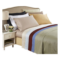 Bed Linens - Egyptian Cotton 650 Thread Count Solid Sheet Sets Queen Taupe - 650 Thread Count Solid Sheet Sets