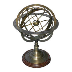 """Extra Large Solid Brass Armillary Sphere - The brass sphere at the center of the armillary represents the Earth. This reproduction of a European Demonstrational Armillary Sphere shows the relationship among important lines and points in the sky such as The Celestial Equator, the Celestial Poles, the Ecliptic and the Vernal Equinox. The ecliptic rings are divided with the signs of the zodiac and this Armillary Sphere has an extra divided axis where the entire celestial sphere can be set to any angle. The rim of the armillary sphere is marked """"A PARIS Chez G. Gobille a P Ache Royalle."""" This armillary sphere is solid brass with a rich antique patina finish that will not tarnish or show fingerprints. The heavy solid brass base is mounted on turned solid hardwood, and the bottom is covered with felt. The Extra Large Armillary Sphere measures 35 inches (88.9 cm) tall, 25 inches (63.5 cm) in diameter, and weighs 34 pounds (15.4 kg). Please check these dimensions before ordering, as this model is very large, suitable for store and restaurant displays and often too large for a desk or shelf."""