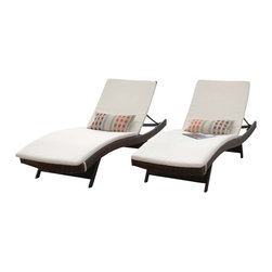 Great Deal Furniture - Ivory Fabric Chaise Lounge Cushions (Set of 2) - The Ivory Fabric Lounge Cushion Set is a versatile and fun solution for your outdoor lounging needs. These cushions are made with a waterresistant fabric and has ties on either side to secure down to your lounge. Relax in comfort with the Ivory Fabric Lounge Cushions.
