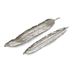 Silver Nest - Feather Trays- Set of 2 - Relic feather trays are simple and elegant, great for a table top centerpeice.