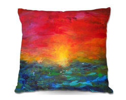 DiaNoche Designs - Pillow Woven Poplin by Jackie Phillips Rainbow Sunset - Toss this decorative pillow on any bed, sofa or chair, and add personality to your chic and stylish decor. Lay your head against your new art and relax! Made of woven Poly-Poplin.  Includes a cushy supportive pillow insert, zipped inside. Dye Sublimation printing adheres the ink to the material for long life and durability. Double Sided Print, Machine Washable, Product may vary slightly from image.